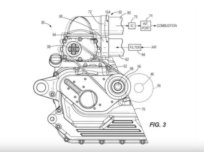 Patent images show the working of the supercharger on the v-twin engine
