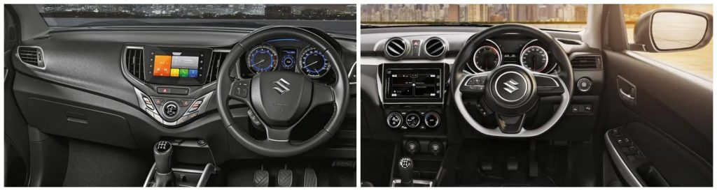 Swift vs Baleno Interior