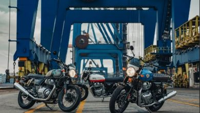 2021 Royal Enfield Interceptor 650 and Continental GT parked on a shipyard.