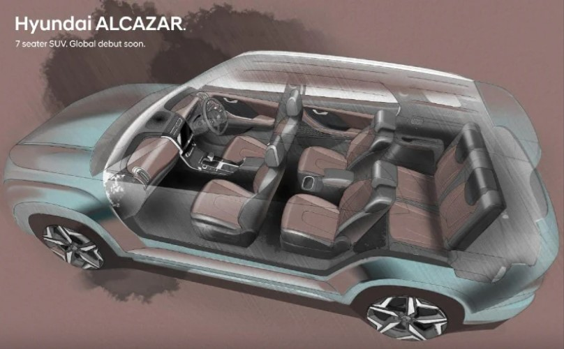 Hyundai Alcazar Interior design sketch