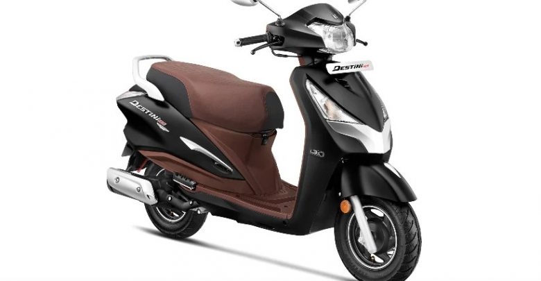 Hero Destini 125 Platinum in matte black color with inner panels finished in brown color