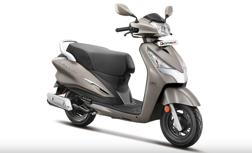 Hero Destini 125 Platinum in matte grey color with inner panels finished in black color