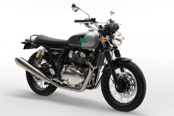 2021 Royal Enfield Interceptor 650 in black color with silver shade at the fuel tank