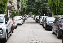Cars parked on road