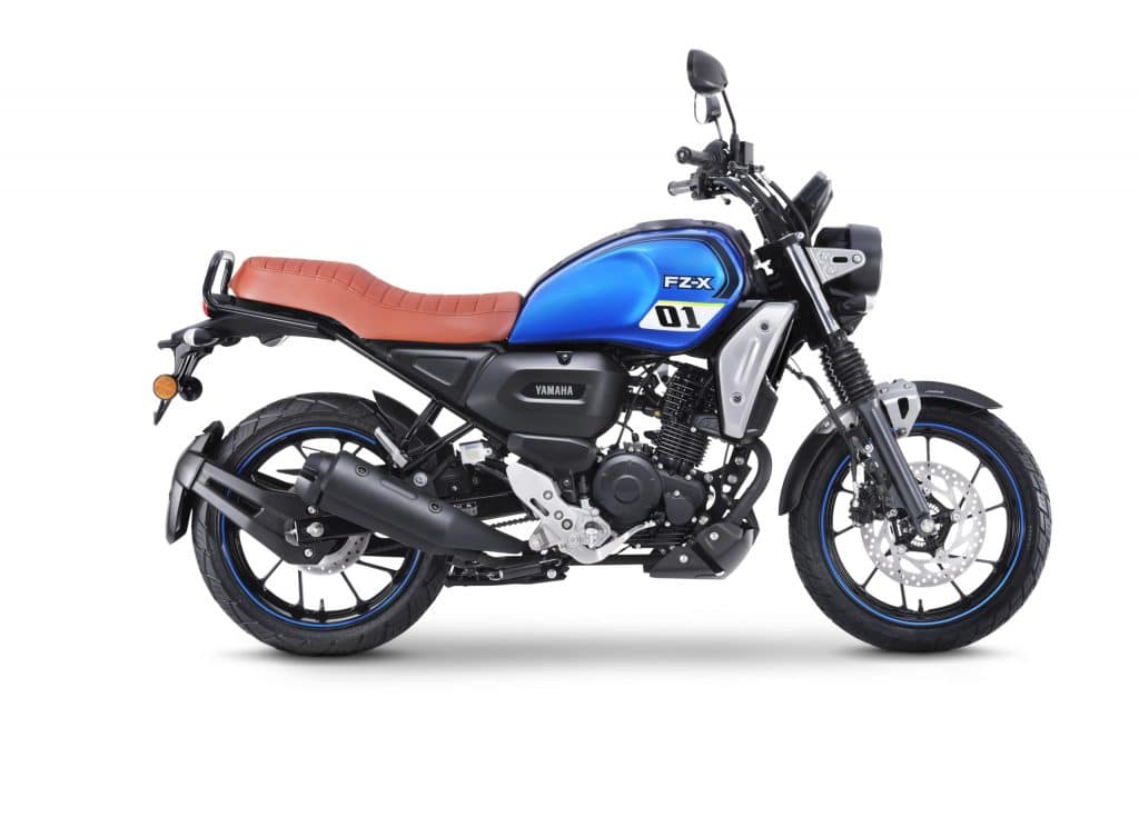 FZ-X metallic blue that features the 01 graphic